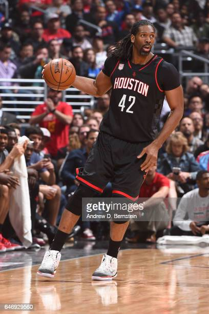 Nene Hilario of the Houston Rockets handles the ball against the Los Angeles Clippers on March 1 2017 at STAPLES Center in Los Angeles California...