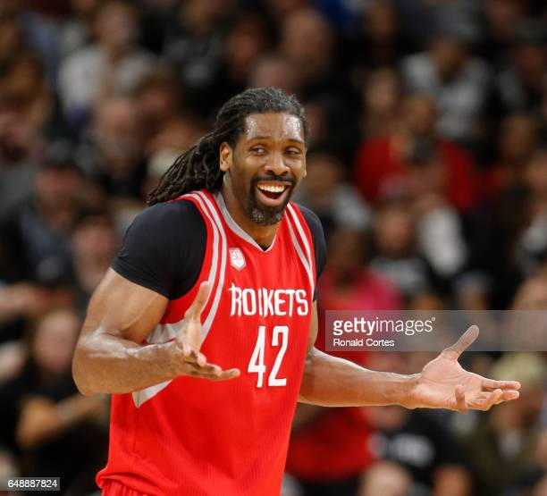 Nene Hilario of the Houston Rockets reacts getting called for a foul against the San Antonio Spurs at ATT Center on March 6 2017 in San Antonio Texas...