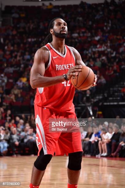 Nene Hilario of the Houston Rockets shoots a free throw against the Cleveland Cavaliers on NOVEMBER 9 2017 at the Toyota Center in Houston Texas NOTE...