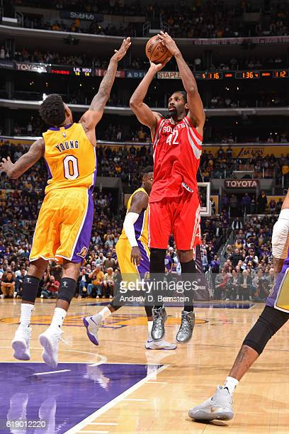 Nene Hilario of the Houston Rockets shoots the ball against the Los Angeles Lakers on October 26 2016 at STAPLES Center in Los Angeles California...