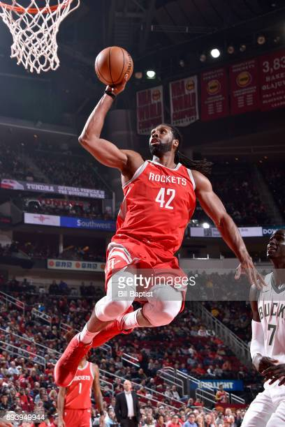 Nene Hilario of the Houston Rockets shoots the ball against the Milwaukee Bucks on December 16 2017 at the Toyota Center in Houston Texas NOTE TO...