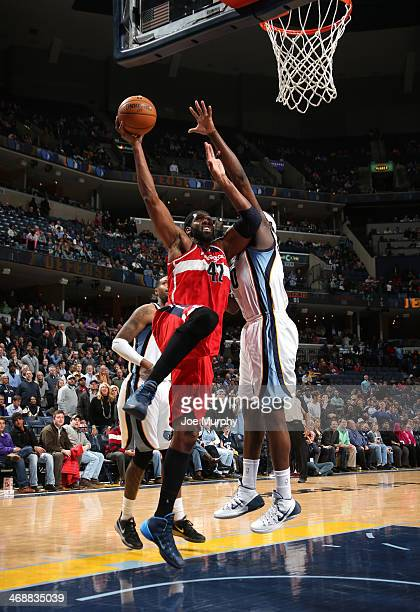 Nene Hilario of the Washington Wizards goes up for the layup against the Memphis Grizzlies on February 11 2014 at FedExForum in Memphis Tennessee...