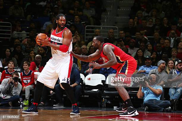 Nene Hilario of the Washington Wizards handles the ball against the New Orleans Pelicans on February 23 2016 at Verizon Center in Washington DC NOTE...