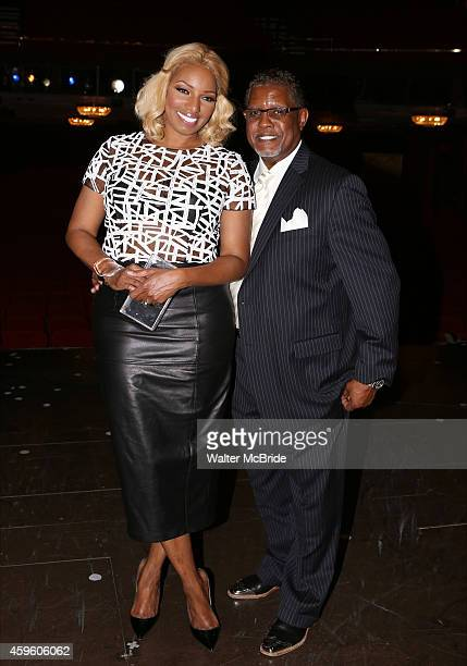 NeNe Leakes and husband Gregg Leakes backstage after her the Broadway Debut Performance in 'Rodgers Hammerstein's Cinderella' at The Broadway Theatre...