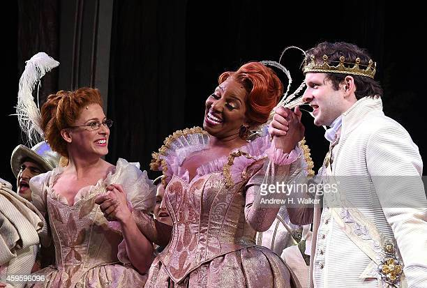 NeNe Leakes and Joe Carroll attend the Rodgers Hammerstein's Cinderella Broadway curtain call with NeNe Leakes and KeKe Palmer at Broadway Theatre on...