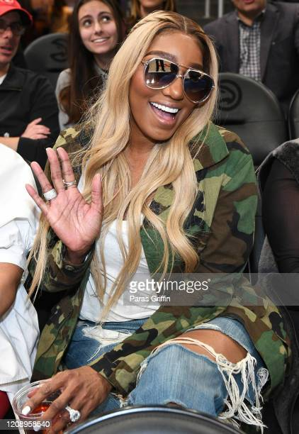 NeNe Leakes attends Orlando Magic vs Atlanta Hawks game at State Farm Arena on February 26, 2020 in Atlanta, Georgia.