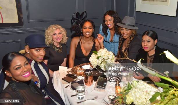 Nene Leakes Marlo Hampton and Cynthia Bailey attend Marlo Hampton Birthday Dinner Celebration at Kaisers Restuarant on February 3 2018 in Sandy...