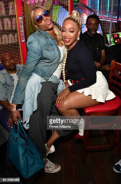 Nene Leaks and Trina attend 2017 Ludaday Weekend Celebrity Bowling Tournament at Bowlmor lanes on September 1 2017 in Atlanta Georgia