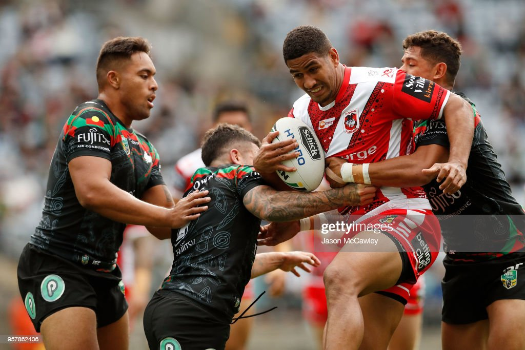 Nene Macdonald of the Dragons is tackled during the round 10 NRL match between the South Sydney Rabbitohs and the St George Illawarra Dragons at ANZ Stadium on May 13, 2018 in Sydney, Australia.