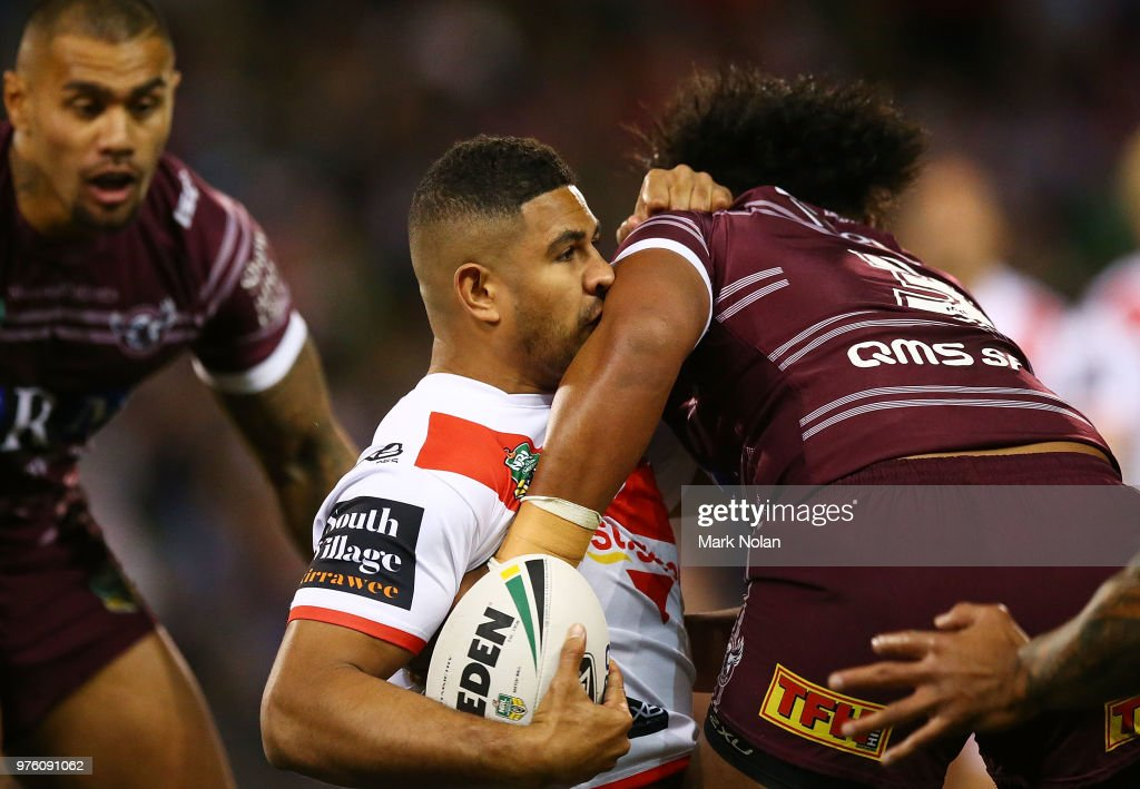 Nene MacDonald of the Dragons is tackled during the round 15 NRL match between the St George Illawarra Dragons and the Manly Sea Eagles at WIN Stadium on June 16, 2018 in Wollongong, Australia.
