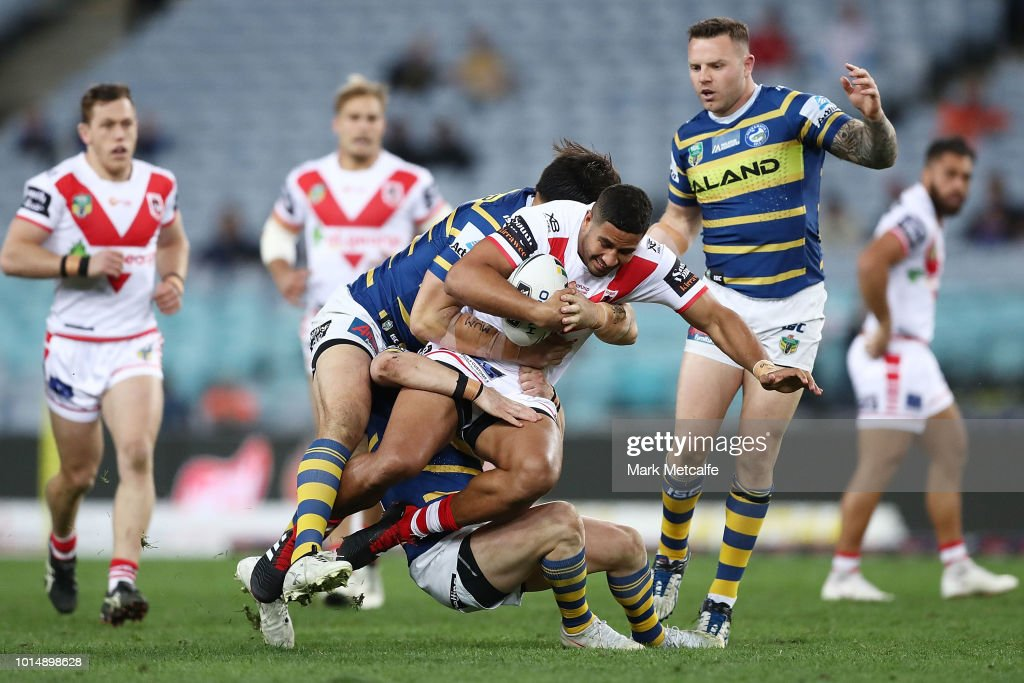 Nene Macdonald of the Dragons is tackled during the round 22 NRL match between the Parramatta Eels and the St George Illawarra Dragons at ANZ Stadium on August 11, 2018 in Sydney, Australia.