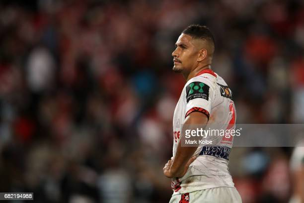 Nene MacDonald of the Dragons looks dejected after defeat during the round 10 NRL match between the St George Illawarra Dragons and the Cronulla...