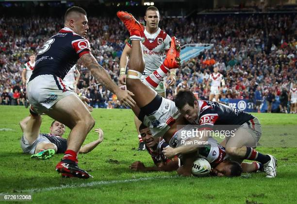 Nene Macdonald of the Dragons scores a try during the round eight NRL match between the Sydney Roosters and the St George Illawarra Dragons at...