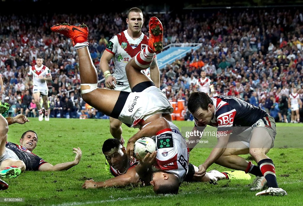 Nene Macdonald of the Dragons scores a try during the round eight NRL match between the Sydney Roosters and the St George Illawarra Dragons at Allianz Stadium on April 25, 2017 in Sydney, Australia.