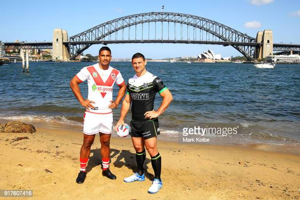 Nene McDonald of the St George Illawarra Dragons and Mark Minichiello of Hull FC pose during a rugby league international double header media...