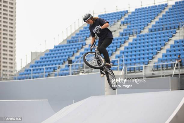 Nene Naito in action during her second heat ride at the Ready Steady Tokyo BMX Freestyle Test Event in Ariake Urban Sports Park.