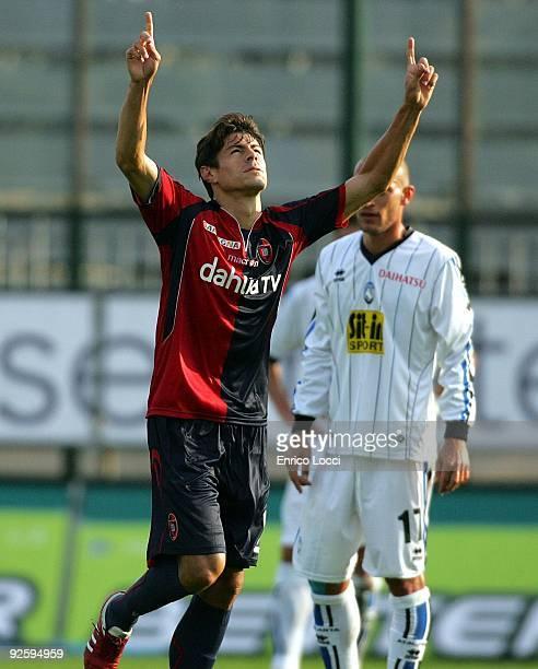 Nene of Atalanta BC celebrates scoring a goal during during the Serie A match between Cagliari and Atalanta BC at Stadio Sant'Elia on November 1,...