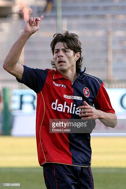 Nene of Cagliari celebrates after scoring a goal during the Serie A match between Cagliari Calcio and AC Chievo Verona at Stadio Sant'Elia on...