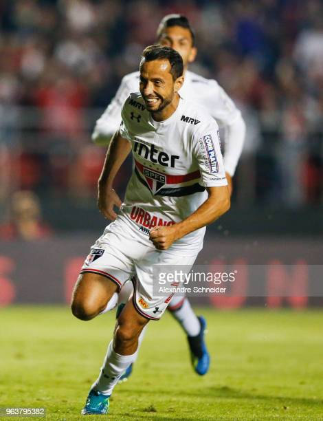 Nene of Sao Paulo celebrates after scoring their first goal during the match against Botafogo for the Brasileirao Series A 2018 at Morumbi Stadium on...