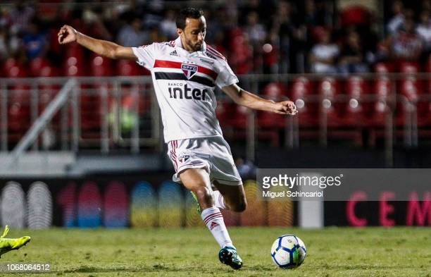 Nene of Sao Paulo kicks the ball during a match between Sao Paulo and Gremio for the Brasileirao Series A 2018 at Morumbi Stadium on November 15 2018...