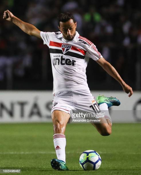 Nene of Sao Paulo kicks the ball during the match between Sao Paulo and Corinthians for the Brasileirao Series A 2018 at Morumbi Stadium on July 21...