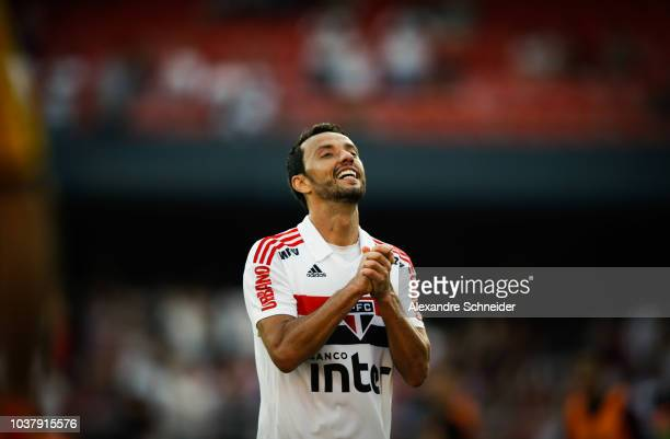 Nene of Sao Paulo reacts during the match against America MG for the Brasileirao 2018 at Morumbi Stadium on September 22 2018 in Sao Paulo Brazil