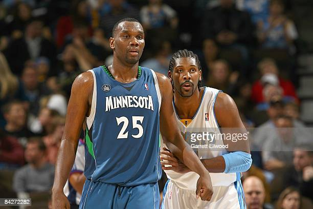 Nene of the Denver Nuggets guards Al Jefferson of the Minnesota Timberwolves on December 10 2008 at the Pepsi Center in Denver Colorado NOTE TO USER...