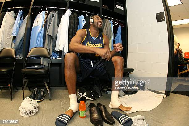 Nene of the Denver Nuggets is getting ready prior to Game One of the Western Conference Quarterfinals against the San Antonio Spurs during the 2007...