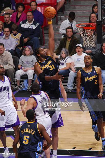 Nene of the Denver Nuggets takes the ball to the basket against the Sacramento Kings on February 3 2007 at ARCO Arena in Sacramento California NOTE...