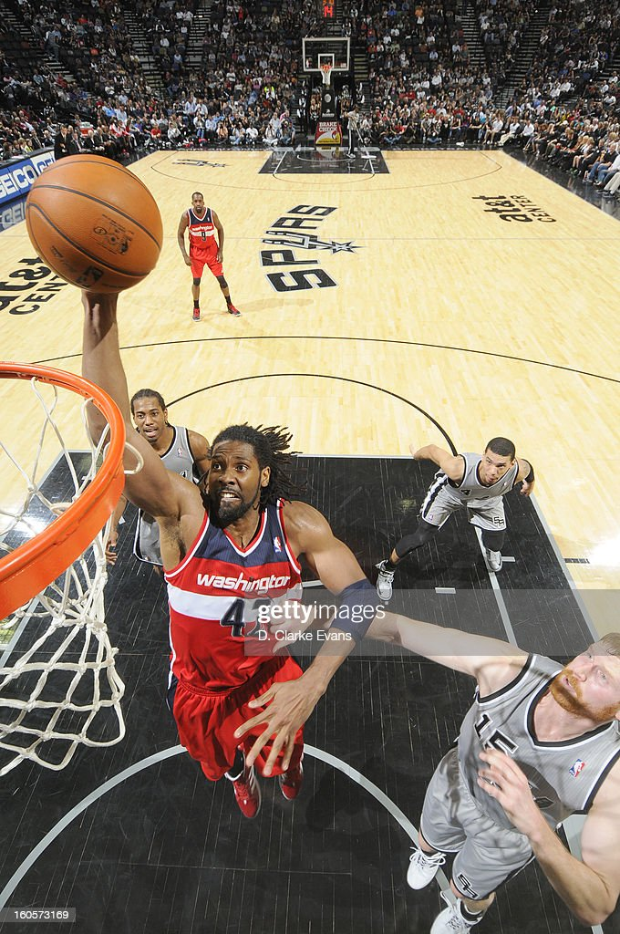 Nene #42 of the Washington Wizards during the game between the Washington Wizards and the San Antonio Spurs on February 2, 2013 at the AT&T Center in San Antonio, Texas.