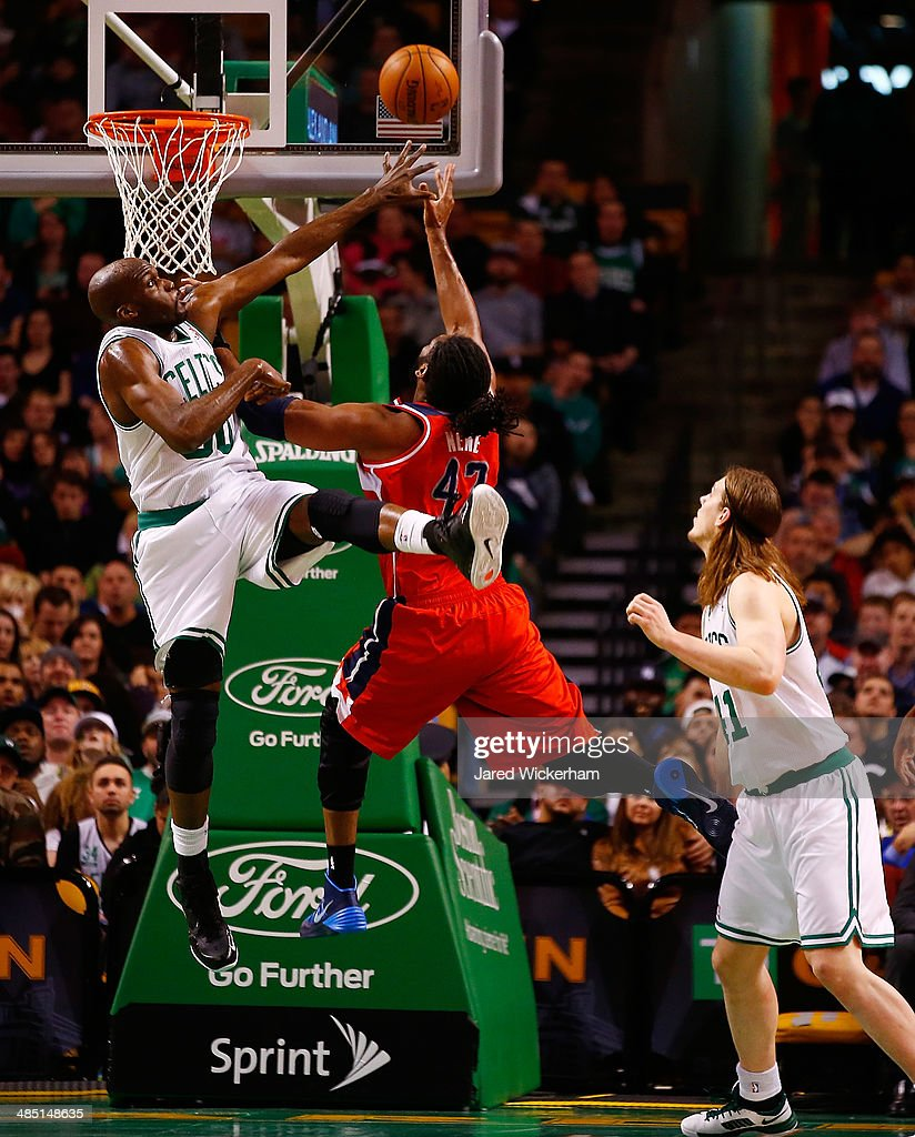 Nene #42 of the Washington Wizards goes up for a shot in front of Joel Anthony #50 of the Boston Celtics in the second quarter during the game at TD Garden on April 16, 2014 in Boston, Massachusetts.