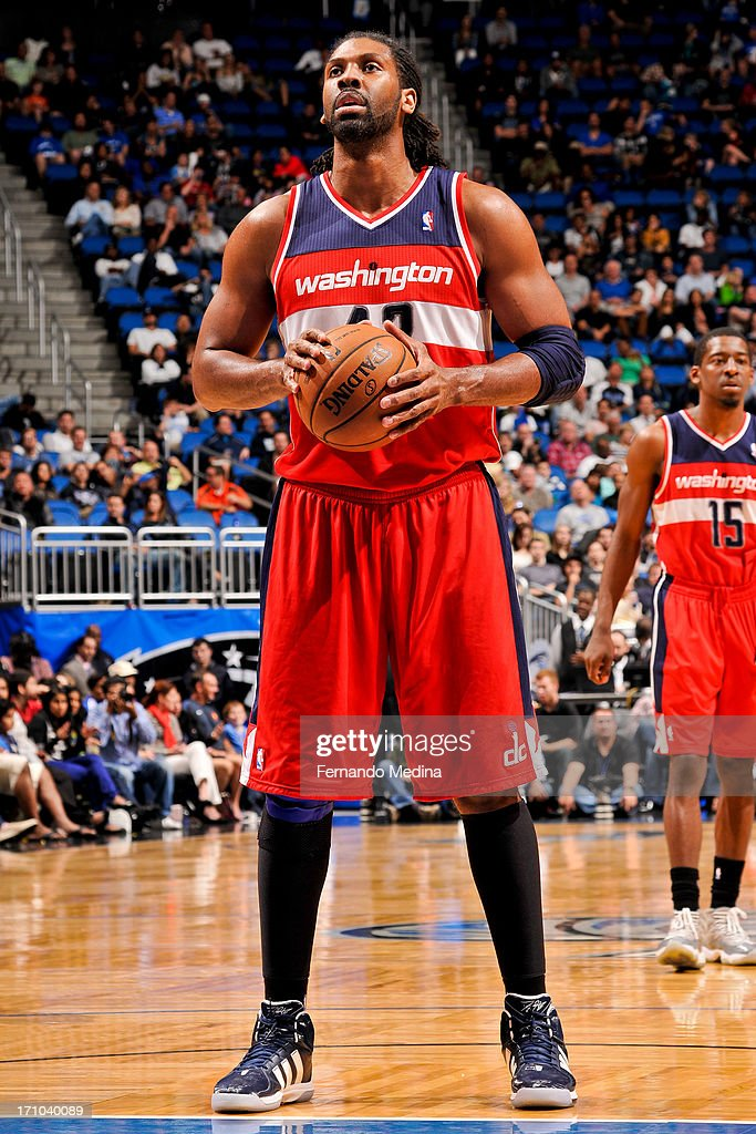 Nene #42 of the Washington Wizards shoots a free-throw against the Orlando Magic on December 19, 2012 at Amway Center in Orlando, Florida.