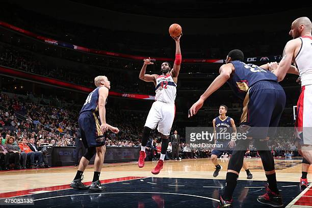 Nene of the Washington Wizards shoots against the New Orleans Pelicans at the Verizon Center on February 22 2014 in Washington DC NOTE TO USER User...