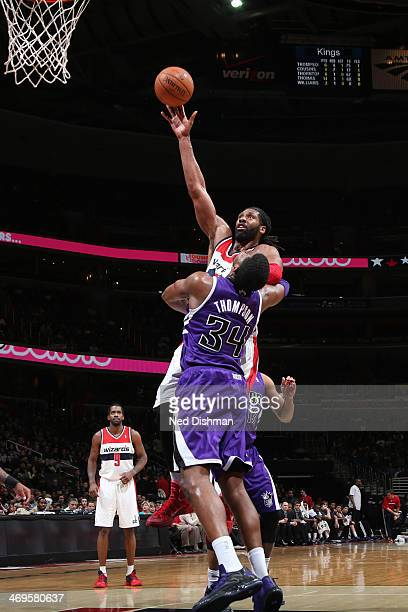 Nene of the Washington Wizards shoots against the Sacramento Kings at the Verizon Center on February 9 2014 in Washington DC NOTE TO USER User...