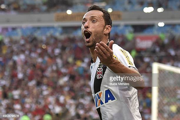 Nene of Vasco celebrates a scored goal during a match between Flamengo and Vasco as part of Brasileirao Series A 2015 at Maracana Stadium on...