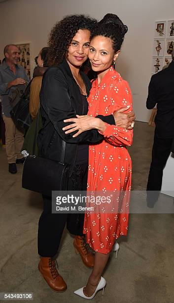 Neneh Cherry and Thandie Newton attend a VIP private view of Judy Blame Never Again and Artistic Difference at the ICA on June 28 2016 in London...