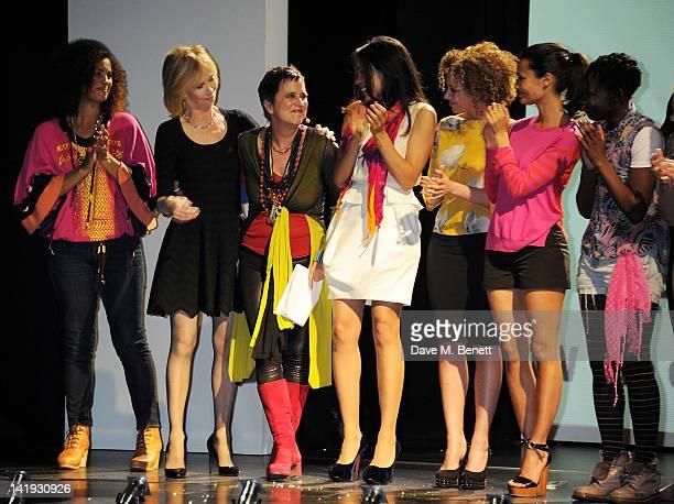 Neneh Cherry, Trudie Styler, Eve Ensler, Rosario Dawson, Stephanie Siadatan, Thandie Newton and Ony Uhiara bow at the curtain call during a...