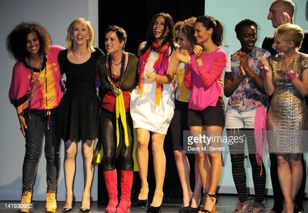 Neneh Cherry Trudie Styler Eve Ensler Rosario Dawson Stephanie Siadatan Thandie Newton Ony Uhiara and MyAnna Buring bow at the curtain call during a...
