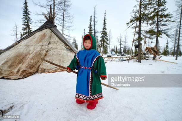Nenets boy in nomadic camp
