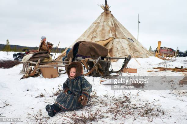 nenets child in nomadic camp - cliqueimages stock pictures, royalty-free photos & images