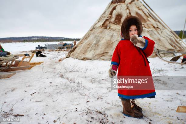 nenets girl in nomadic camp - cliqueimages stock pictures, royalty-free photos & images