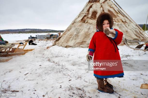 Nenets girl in nomadic camp