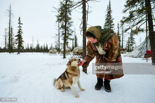 nenets woman with dog in camp - cliqueimages - fotografias e filmes do acervo