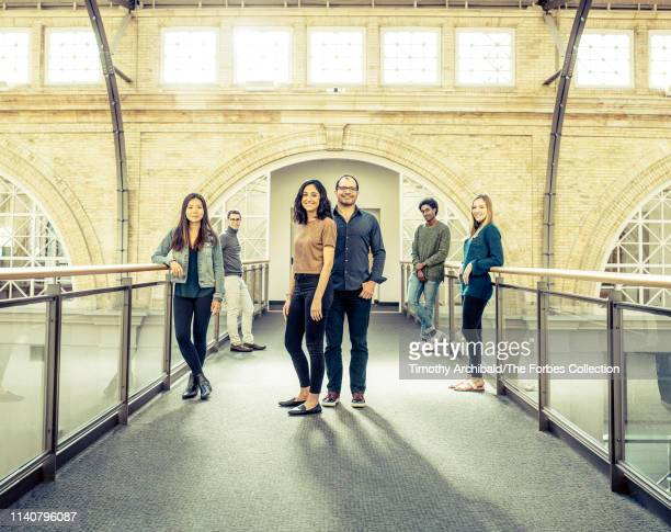 Neo founder Ali Partovi partner Nadia Singer are photographed with Neo scholars Shirley Miao Joshua Meier Faisal Gedi and Christina Wadsworth for...
