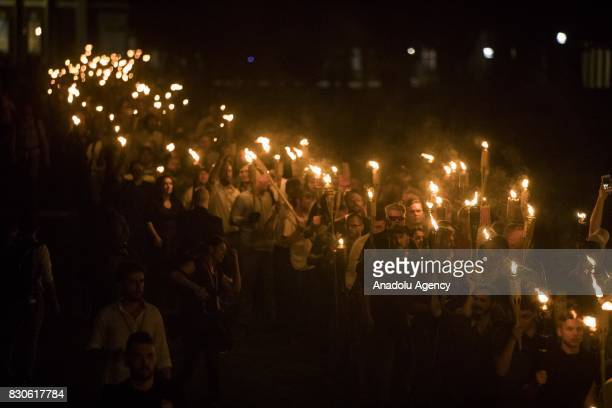 Neo Nazis AltRight and White Supremacists march through the University of Virginia Campus with torches in Charlottesville Va USA on August 11 2017