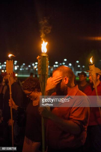 Neo Nazis AltRight and White Supremacists take part a the night before the 'Unite the Right' rally on 11 August 2017 in Charlottesville VA white...