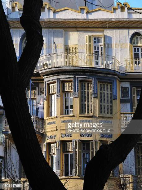 neoclassical apartment building at thessaloniki 4 - dimitrios tilis stock pictures, royalty-free photos & images