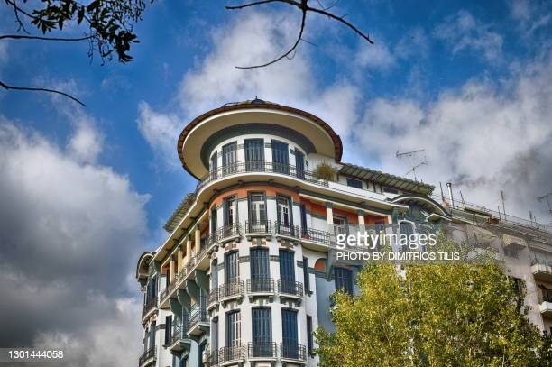 neoclassical apartment building at thessaloniki - dimitrios tilis stock pictures, royalty-free photos & images