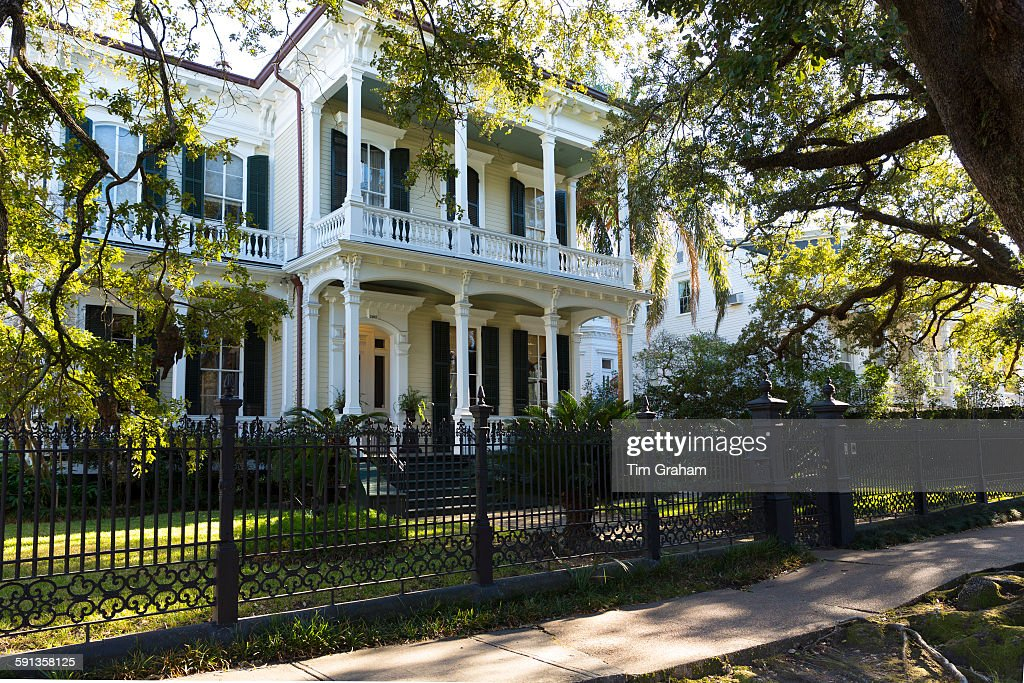 Neo Classical Clapboard Grand House With Double Gallery And Columns In The Garden  District,