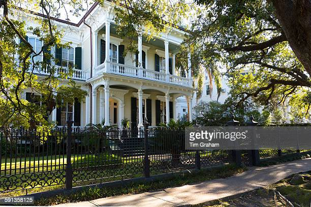 Neoclassical clapboard grand house with double gallery and columns in the Garden District New Orleans USA